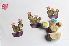 cactus rubber stamp. cactus pot stamp. hand carved by talktothesun