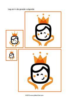 Werkbladen Koningsdag kleuters Homeschooling, Cartoon, Education, Cards, Step By Step Drawing, Moldings, Carnival, Cartoons, Comic