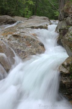 beautiful waterfall in white mountains nh