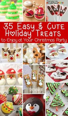 35 Easy and Cute Holiday Treats to Enjoy at Your Christmas Party 35 Easy and Cute Holiday Treats to Enjoy at Your Christmas Party: The list includes winter favorites like snowflakes, penguins, and snowmen Christmas Classroom Treats, Christmas Treats To Make, Christmas Party Snacks, Christmas Sweets, Christmas Cooking, Christmas Goodies, Holiday Treats, Christmas Fun, Rudolph Christmas