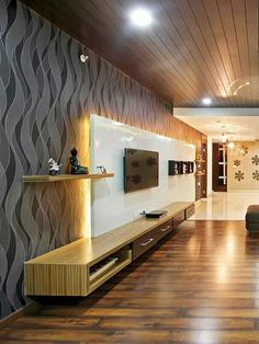 Tv Cabinet Design, Tv Wall Design, Ceiling Design, Ceiling Ideas, Ceiling Trim, Modern Tv Wall, Modern Tv Units, Modern Room, Room Interior