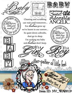 Baby Set 1 Digital Stamps,  Digi, Word Art Sentiments, Photography Overlays, Instant Download, ID:NV-WA0019 By Nana Vic