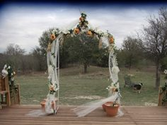 Draped wedding arch. For more wedding inspiration and wedding trends please visit us at https://www.facebook.com/EzeEvents