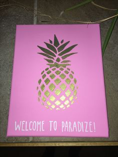 welcome to paradize paradise delta zeta sorority big little craft canvas. used acrylic paint and white paint marker. Alpha Phi Crafts, Delta Gamma Crafts, Delta Phi Epsilon, Kappa Alpha Theta, Sorority Crafts, Delta Zeta Canvas, Sorority Canvas, Sorority Life, Big Little Week