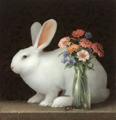"Beautiful!!  Koo Schadler, ""White Rabbit with Zinnias,"" 2012, egg tempera on panel with oil, 11.25 x 10.75"""