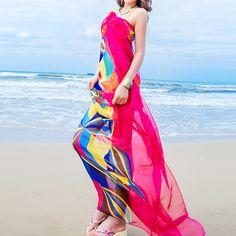Women Chiffon Floral Beach Scarves Summer Ladies Bikini Cover Up Beachwear Warp New Flower #Affiliate
