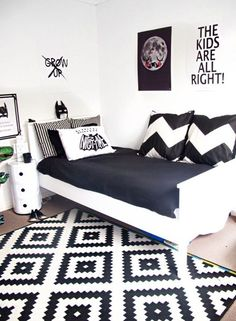 Monochrome Kids Room: Get The Look Love the Scandi schic monochrome kids bedroom style? You're going to need this must-have shopping list to get the look. black and white kids bedroom, monochrome nursery, modern home. Black Bedroom Furniture, Modern Bedroom Decor, Stylish Bedroom, Bedroom Black, Nursery Modern, Black And White Bedroom Teenager, Black Bedrooms, Modern Bedrooms, Small Bedrooms
