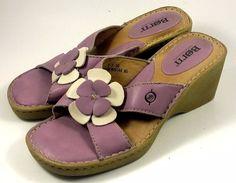 BORN Shoes ~ Women's Purple Wedge Mule Sandals w/ Floral Accent ~ US 7 M #Born #Mules