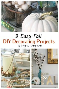 3 Easy Fall DIY Decorating Projects to Make in 1 Day ~ Bluesky at Home Diy Home Decor Projects, Fall Home Decor, Autumn Home, Fall Vignettes, Fall Table, Fall Diy, Diy Decorating, Diy Accessories, Diy Crafts
