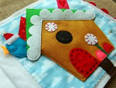 Cute little Christmas birdie hides in the gingerbread birdhouse...1 of 8 new designs for LITTLE CHRISTMAS, a new #quiet book by LindyJ Design. There's a PATTERN at Etsy.