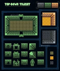 TopDown Game Tileset — Photoshop PSD #tileset #passage • Available here → https://graphicriver.net/item/topdown-game-tileset/13268962?ref=pxcr
