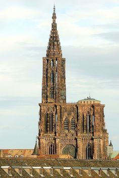 Strasbourg Cathedral or the Cathedral of Our Lady of Strasbourg (Cathédrale Notre-Dame-de-Strasbourg, Liebfrauenmünster zu Straßburg)in Strasbourg,France. Although considerable parts of it are still in Romanesque architecture,it is widely considered to be among the finest examples of high,or late, Gothic architecture.Erwin von Steinbach is credited for major contributions from 1277 to his death in 1318.15th-century church tower.facade Nord #gothicarchitecture