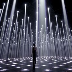 This art installation brings in a lot of actual light from skylights in the ceiling. Light Art Installation, Interactive Installation, Art Installations, Stage Lighting Design, Types Of Lighting, Stage Design, Interior Lighting, Chandelier Lighting, Design Set