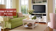 PIN IT  GET IT For Less  Green and Pink Neutral Cottage Style Living Room - click the image to see the 12 accessories that we picked for this room.