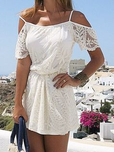 White Lace Embroidery Cold Shoulder Strap Dress