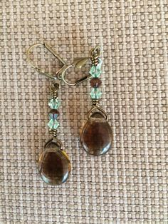 Stunning genuine Smoky Quartz teardrop earrings with green and brown Swarovski crystals by RealBeadDesigns on Etsy
