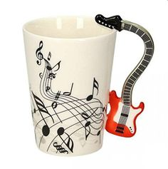 Shop for Music Tea Cup Online in India. Order Ceramic Musical Coffee Mug for Gift Home Decor Office at Best Price. Buy Guitar Handle Tea Mug at Lowest & Cheapest Price. Coffee Mugs Online, Buy Guitar, Buy Music, White Cups, Coffee Gifts, Online Gifts, Tea Mugs, Gifts For Her, Ceramics
