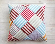 """Pillow case decorative patchwork throw pillow cushion cover modern striped cotton quilted red green blue orange burgundy 16"""" x 16"""" sofa bed"""