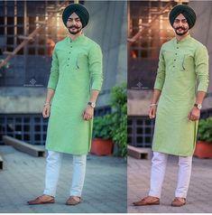Gur Indian Men Fashion, Big Men Fashion, Mens Fashion Suits, Punjabi Kurta Pajama Men, Kurta Men, Gents Kurta Design, Boys Kurta Design, Punjabi Dress Design, Indian Groom Wear
