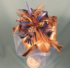 """Real Feather Bouquet """"Shiny Blue"""" - Bridal Bouquet – Bridesmaid Bouquet - Centerpiece- Gold – Blue - Brown - Beige by VeriFeather on Etsy"""
