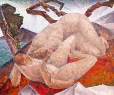 "In ""Untitled (Two Nudes in a Landscape),"" (c. 1928–30, private collection) Munn uses the classical subject of ""the bathers"" to explore how figures integrate with the natural landscape features."