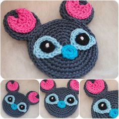 Do you like Lilo and Stitch? I want to share Stitch pattern with you today! I wear him on my bag and he looks really great there. Disney Crochet Patterns, Crochet Applique Patterns Free, Crochet Disney, Crochet Appliques, Free Crochet, Free Pattern, Knit Crochet, Crochet Crafts, Yarn Crafts