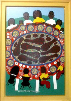 """Amos Ferguson A Family Supper"""". 1980s. Enamel paint on paper board. 30x24 inches."""