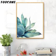 Watercolor Tropical Plants Cactus Posters and Prints Art Canvas Painting Home Decoration Wall Pictures For Living Room Tropical Plants, Cactus Plants, Art Wall Kids, Canvas Wall Art, Nordic Art, Living Room Pictures, Military Art, Handmade Decorations, Kids Decor