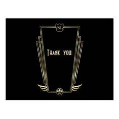 Royal Gold Art Deco Monogram Wedding Thank You Postcard - vintage romantic gifts ideas diy