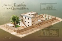 Egyptian House Reconstitution (Amarna Period) by yannickdubeau on DeviantArt Ancient Egyptian Cities, Ancient Egypt Fashion, Ancient Egyptian Architecture, Ancient Egyptian Jewelry, Ancient Egypt Art, Ancient Buildings, Egyptian Art, Ancient History, European History