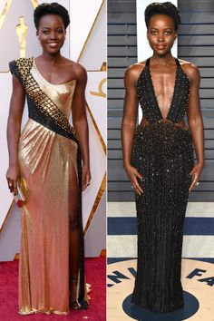 LUPITA NYONG'O changes from her Oscars Atelier Versace into a black beaded Armani Prive halter with plunging neckline and obliques cutouts, plus Forevermark jewelry, for the Vanity Fair party.