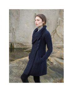 Aran Style Large Collar Coat Knitted Coat Pattern 5ad1c11c66c7
