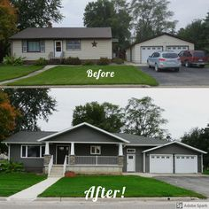 Before and after of home addition/remodel. Design LLC - Before and after of home addition/remodel. Design LLC Before and after of home addition/remodel. Home Exterior Makeover, Exterior Remodel, House With Porch, House Front, Ranch House Remodel, Layout Design, Design Ideas, Pavillion, House Makeovers