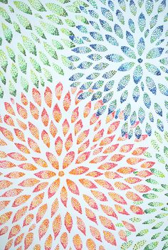 Pointillism Abstract Flowers (going to do this on a sheet and hang as art)