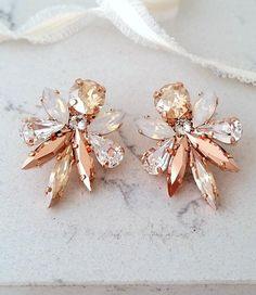 15920a206 Champagne earrings,White opal earrings,Bridal earrings,Statement Earrings,Rose  gold earrings,Cluster earrings,Swarovski earring,Bridemaids