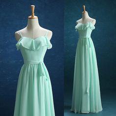 2016 Mint Chiffon Bridesmaid dress Ruffled Neck por harsuccthing