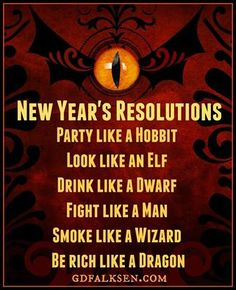 Lord of the Rings New Year's Resolutions