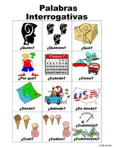 Spanish question words in picture form with Spanish labels. Great for helping your students learn the meanings of the question words without translation! Spanish Teaching Resources, Spanish Activities, Spanish Language Learning, Foreign Language, Dual Language, Spanish Lesson Plans, Spanish Lessons, Spanish Teacher, Spanish Classroom