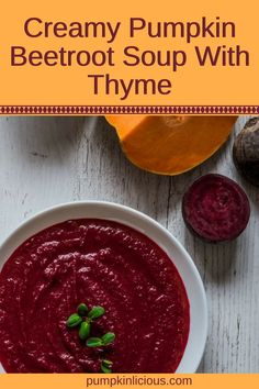 This easy to make beetroot and pumpkin soup is as healthy as they come. Creamy soups are simple, yet some of the best comfort foods. Blended to smooth perfection, you'll be surprised at how well these 2 vegetables get along. YUM! #soup #creamysoup #vegetarian #vegan  #veganrecipes  #comfortfood