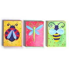 Art for Girls Nursery, 3 LITTLE BUGS, Set of 5x7 Acrylic Canvas Art for Kids Rooms