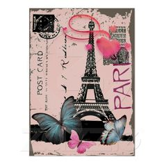 vintage pink Paris Effiel Tower Butterfly Poster from Zazzle.com