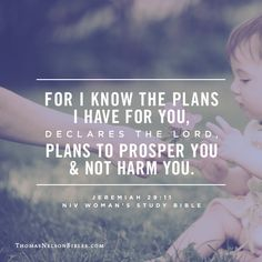 For I know the plans I have for you, declares the Lord, plans to prosper you and not harm you. - Jeremiah 29:11 #NIVWomansStudyBible