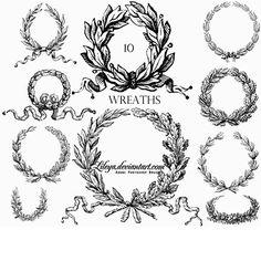 Vintage Laurel Wreaths Illustration Brushes ~ Design Share