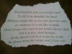 Bridal Shower Recipe Card Wording | the wording for the recipe cards the recipe cards i