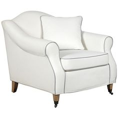 Celia Armchair - White ($1,240) ❤ liked on Polyvore featuring home, furniture, chairs, accent chairs, interior design, home decor, caster chairs, caster furniture, white occasional chair and white chaise lounge