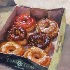 "Daily Paintworks – ""Yum Yums"" – Original Fine Art for Sale – © Karen Werner - Art Painting Pretty Art, Cute Art, Food Art Painting, Painting Videos, Painting Clouds, Realistic Oil Painting, Painting Lessons, Painting Tutorials, Painting Tips"