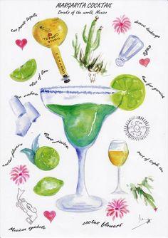 Margarita cocktail watercolor print
