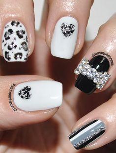 super cute nails wedding manicure white nail nail black nail decals - Black Christmas Nails