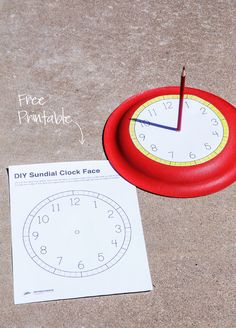 Free Printable Sundial Clockface - Paging Supermom - Free Printable Clock Face for a Sundial - Stem Activities, Educational Activities, Summer Activities, Learning Activities, Kids Learning, Science Experiments Kids, Teaching Science, Science For Kids, Kindergarten Science
