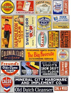 Signs for your layout - Model Railroader Magazine Vintage Tin Signs, Vintage Tins, Vintage Labels, Vintage Posters, Vintage Banner, Ho Scale Train Layout, Model Train Layouts, Advertising Signs, Vintage Advertisements